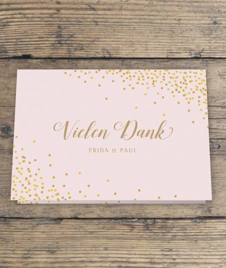 Dankeskarte mit Foto innen Hochzeit Klappkarte DinA6 Querformat rosa gold