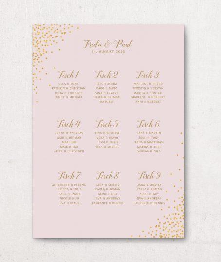 Sitzplan Hochzeit DinA 1 rosa gold Hochformat