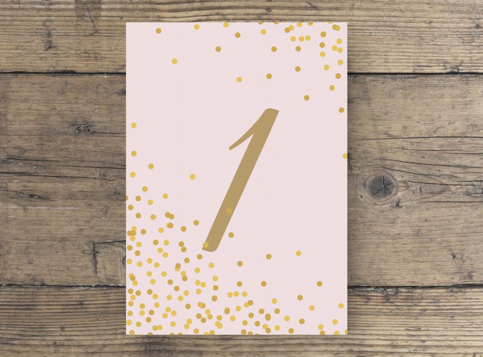 Tischnummer Hochzeit Postkartenformat rosa gold