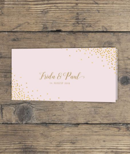 Klappkarte Hochzeitseinladung lang querformat in Rosa Gold vorderseite