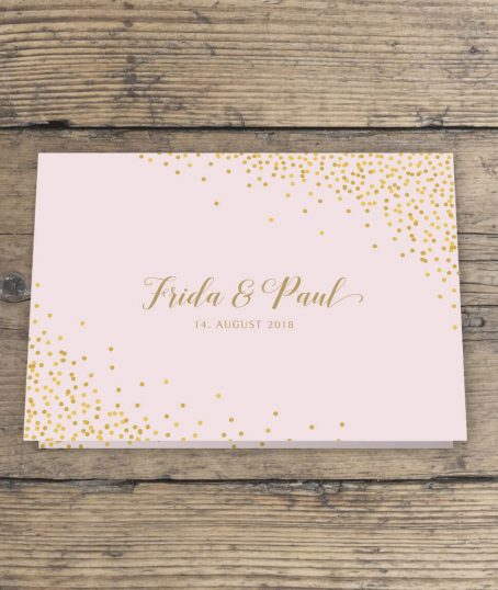 Einladungskarte Hochzeit in rosa gold Klappkarte