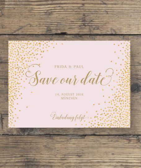 Save the Date Karte Gold geschwungene Schrift querformat in rosa Gold vorderseite