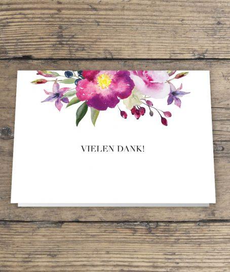 Wunderschönes rosen Aquarell design Dankeskarte Hochzeitspapeterie Klappkarte