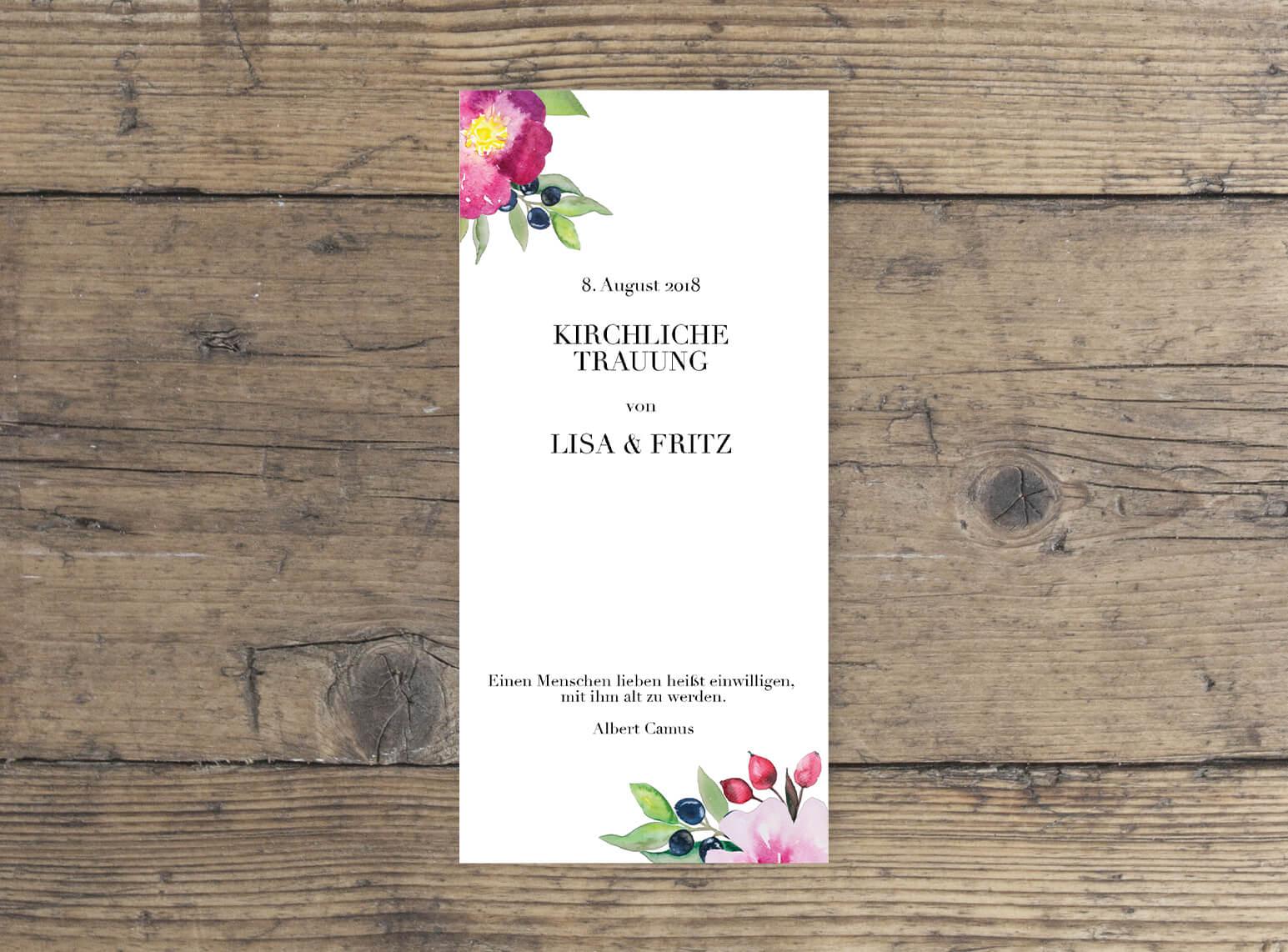 Romantisches Rosen Aquarell Design Hochzeit Kirchenblatt