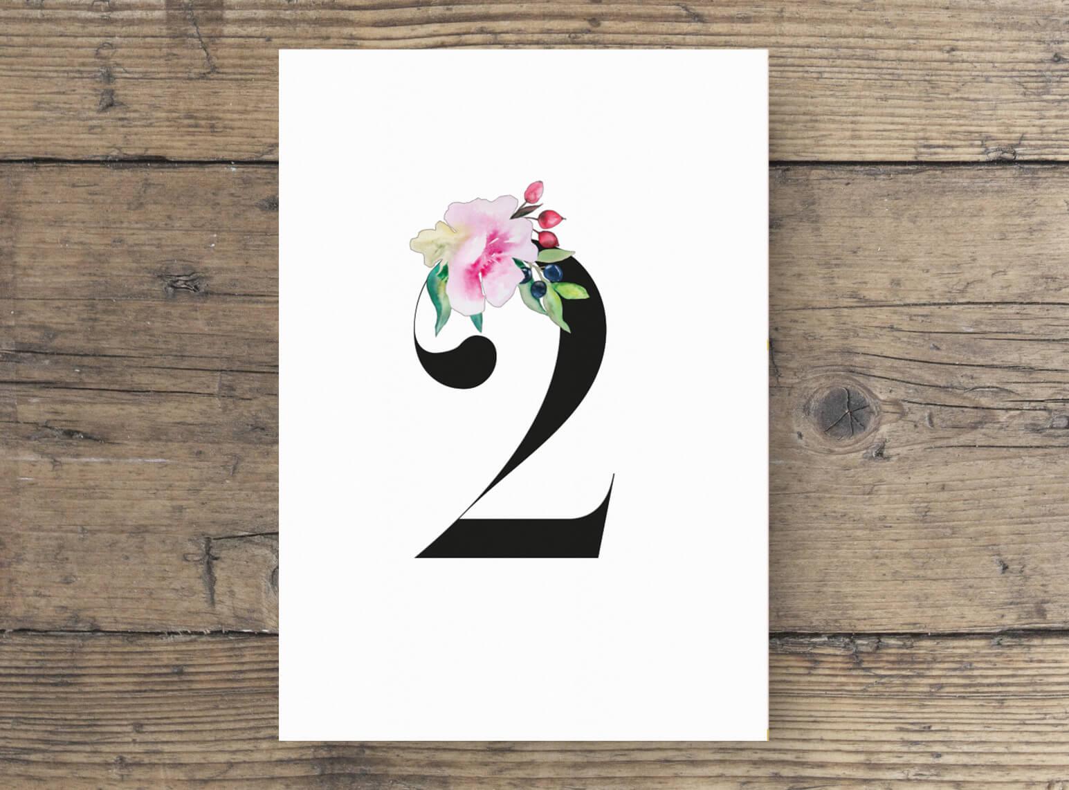 Tischnummern Hochzeit Aquarellfarben, romantisches Design, Blumen verziert