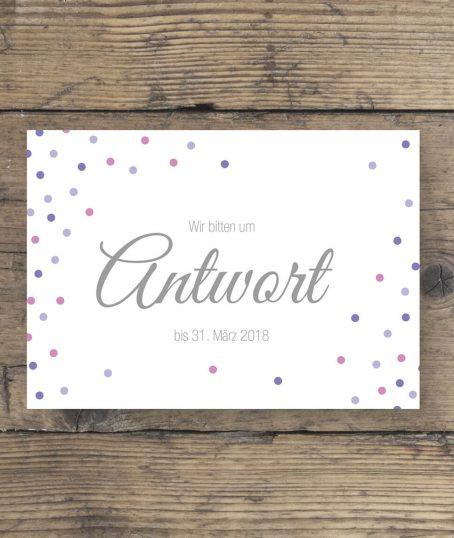Antwort Postkarte zur Hochzeitseinladung mit Konfetti in Lila Rosa und Flieder