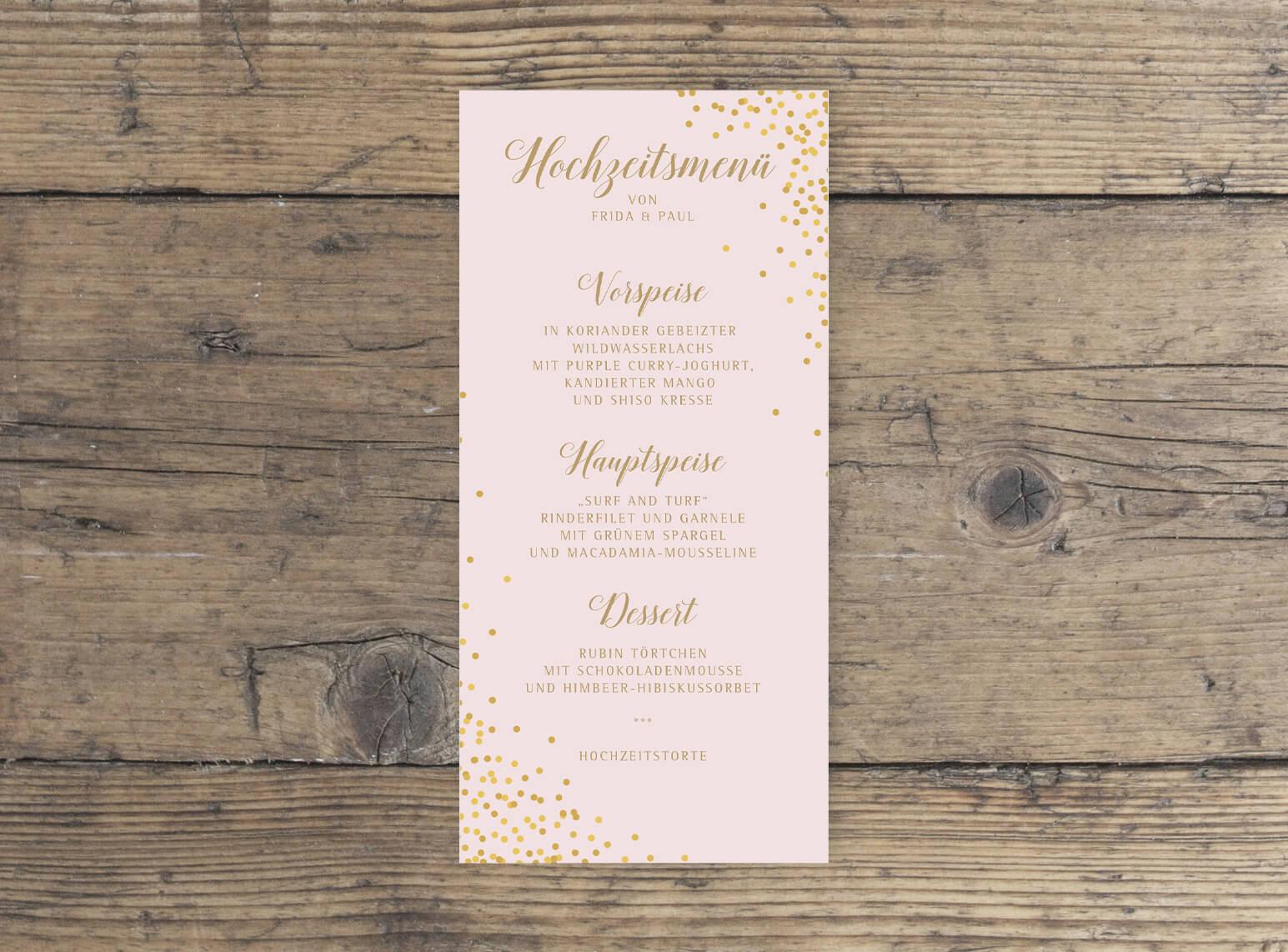 Hochzeit Menükarte DINlang Hochformat rosa gold geschwungene Schrift vorderseite