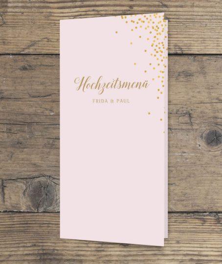 Hochzeitsmenü DINlang Hochformat rosa gold geschwungene Schrift vorderseite