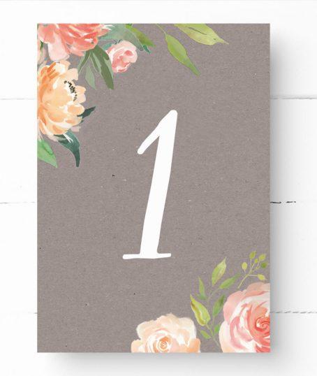 Tischnummer Kraftpapier Rustikal Hochzeit Vintage Kraftpapier