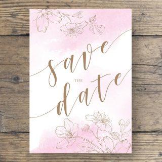 Save The Date Postkarte DIN A6 in Rosa Weiß Gold Goldfolie Kirschblüten Vorderseite