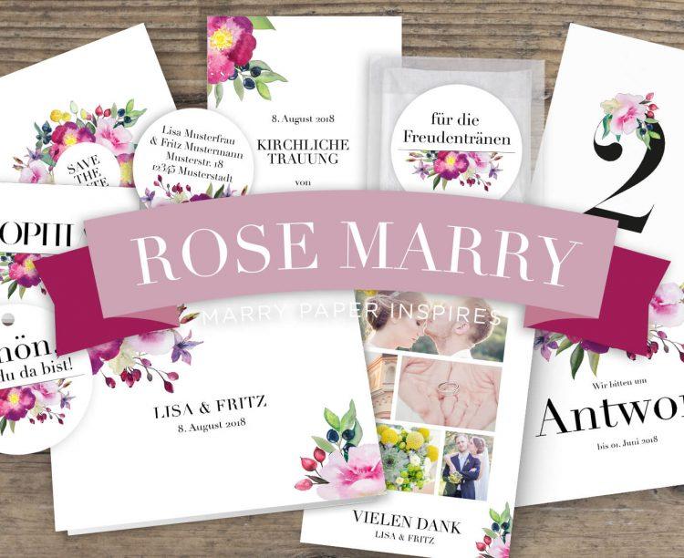 Hochzeitskarten wilde Romantik in Aquarell Rosen Hochzeitspapeterie Romantisch Verspielt