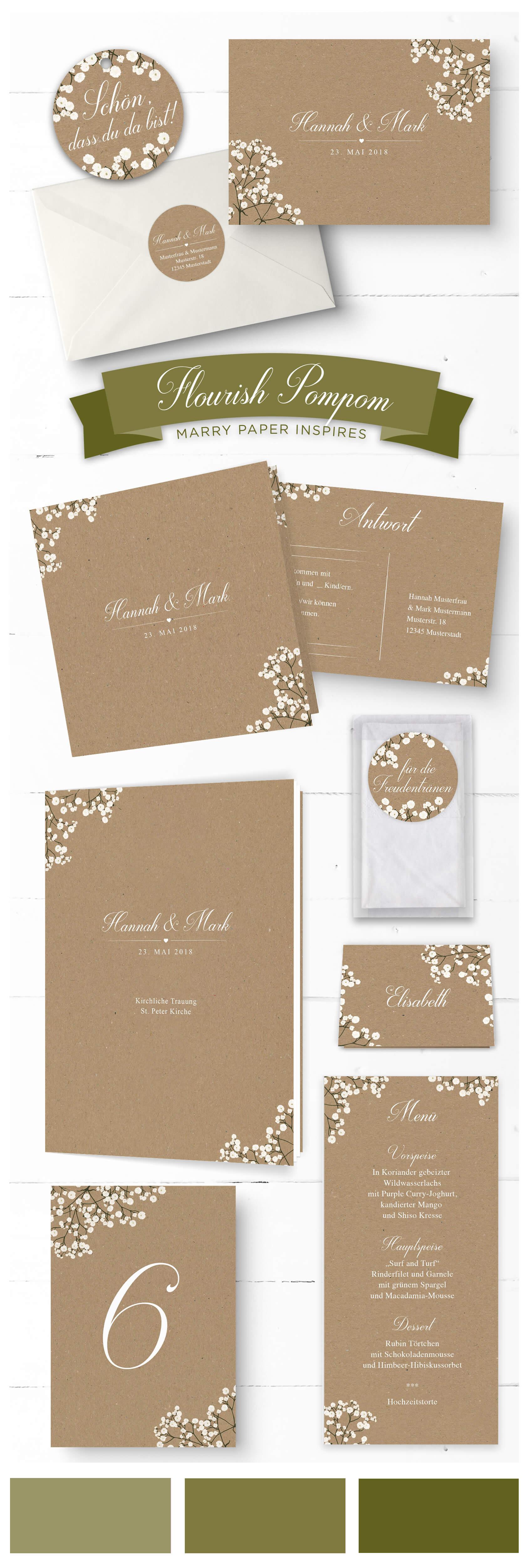 Vintage Hochzeit mit Schleierkraut auf Kraftpapier Hochzeitspapeterie