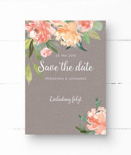 Kraftpapier in Grau | save the date karten | hochzeit | Pfingstrosen