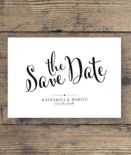 Modernes Hochzeitskartendesign Save The Date Postkarte Schwarz Weiß Look