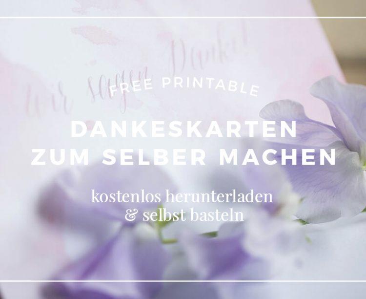 Hochzeitspapeterie, Freebie, DIY, kostenlose Anhänger, Dankeskarte, Umschlagfutter, Wicke, rosa, lila, Aquarell, Kalligrafie, Lochzange, Motivstanzer, Cutter, Holz, Kordel