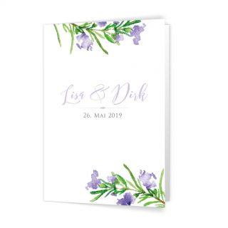 Hochzeitseinladung Klappkarte rosmarin design violet Kalligraphie