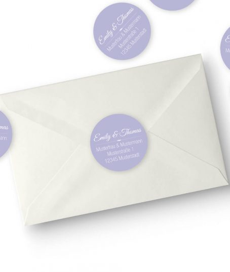 Runde Hochzeitseinladungs Adressaufkleber in flieder