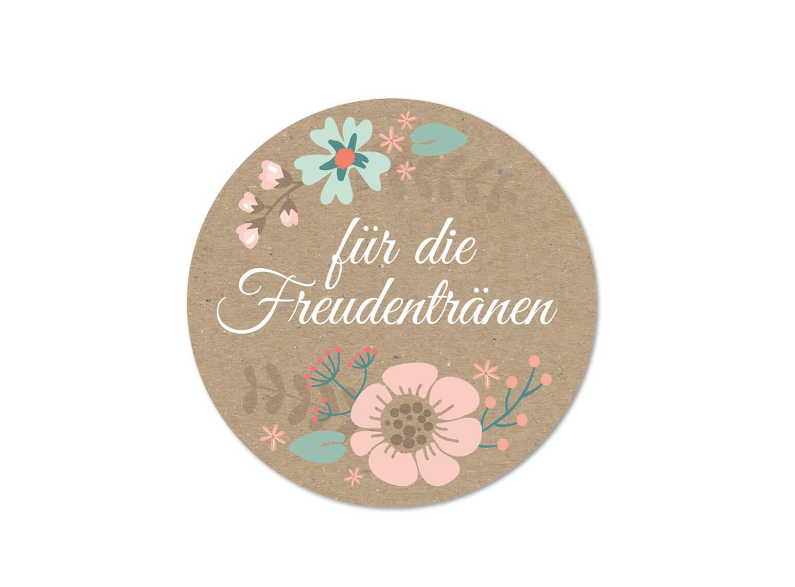 Hochzeit Aufkleber, Freuden tränen, Vintage, Kraftpapier, Blumen Design