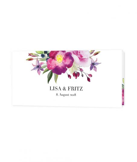 Hochzeitseinladung Klappkarte Aquarell Blumen liebe