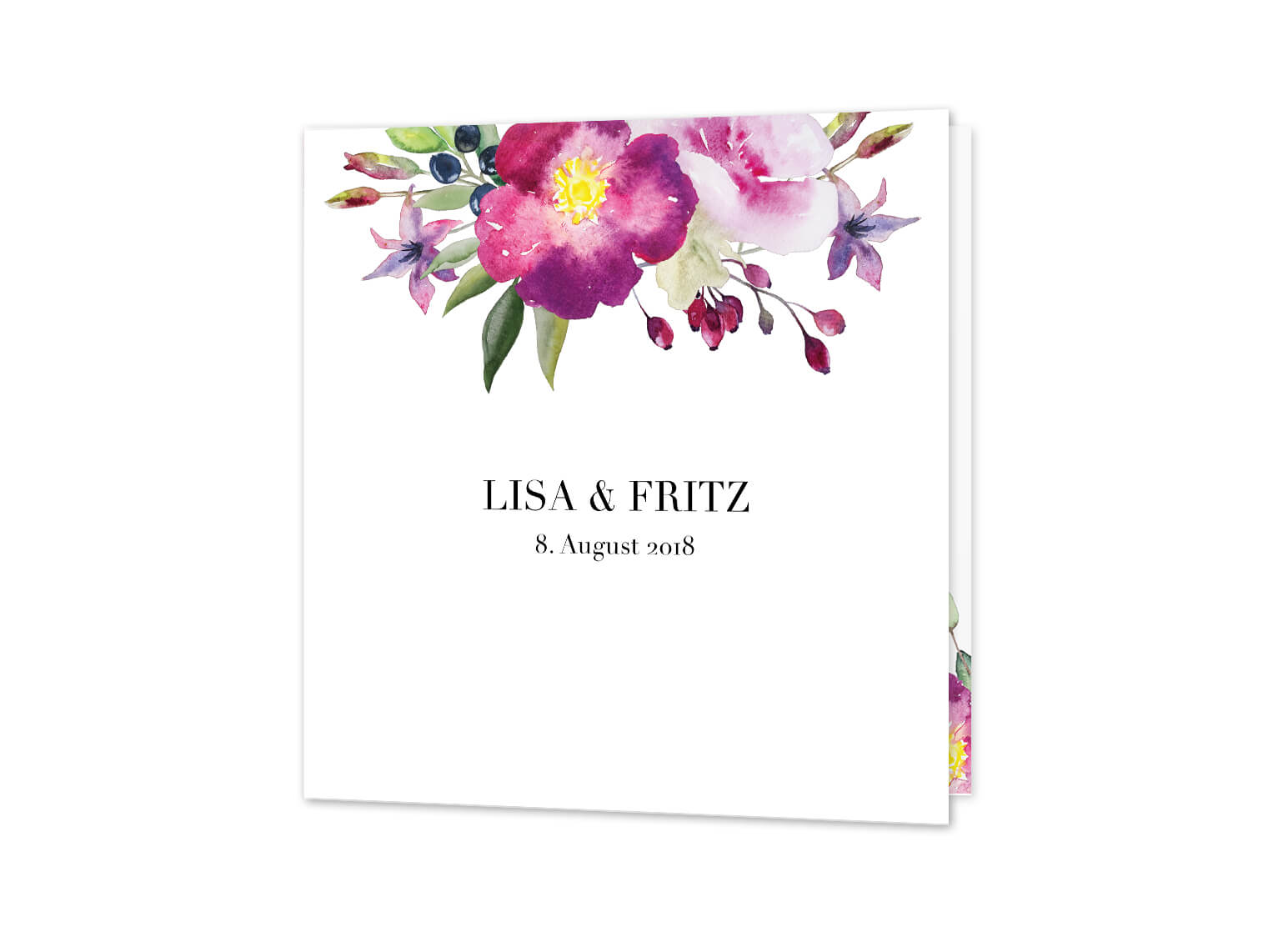 Hochzeitseinladung Blumen Aquarell qudratisch Rosen Liebe