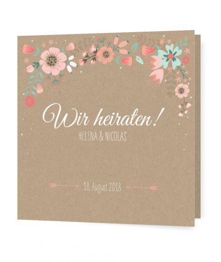 Hochzeitseinladung | Kraftpapier, Vintage, Blumen Design