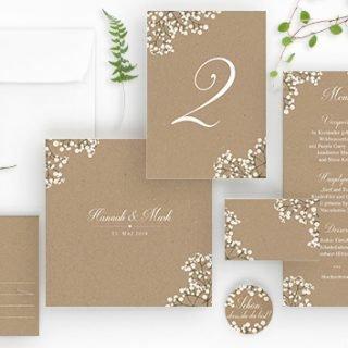 Hochzeitskarten auf echtem Kraftpapier, Vintage Stil, Sommer Hochzeit Papeterie