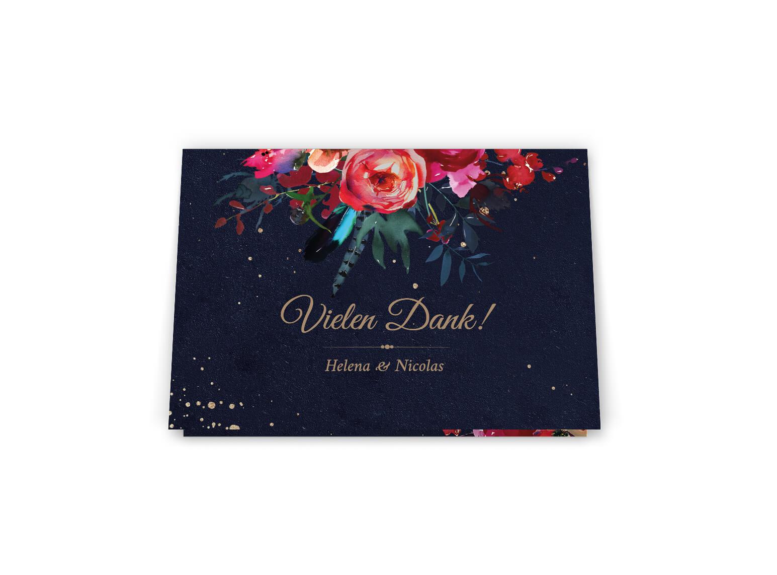 Nacht Dankeskarte Boho Hochzeit   dunkle Blumenverzierte Dankeskarte Klappkarte Din A6