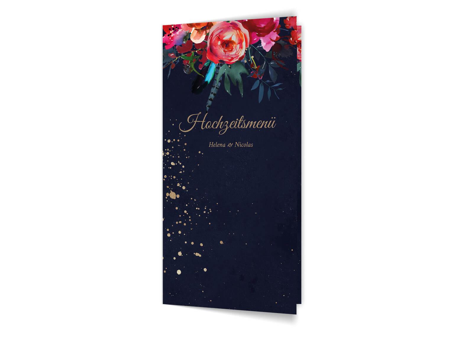 hochzeit-menue-klappkarte-din-lang–dunkel-blau-beerentoene-blumen-aquarell-gold-front-MP0021-5.0.2