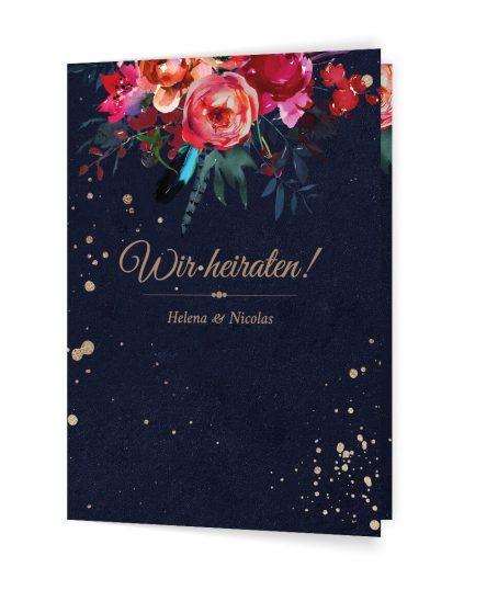 Schicke Boho Hochzeitseinladung, dunkelblaue Hochzeitseinladung Dunkelblaue Hochzeitseinladung mit Aquarellblumen
