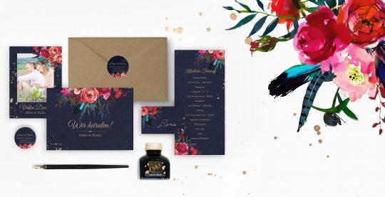 Boho Hochzeit Hochzeitspapeterie mit Aquarellblumen